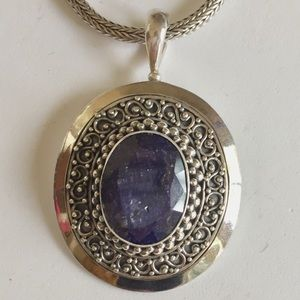 Hand Made Bali 20 CT Sapphire Necklace 925 Silver